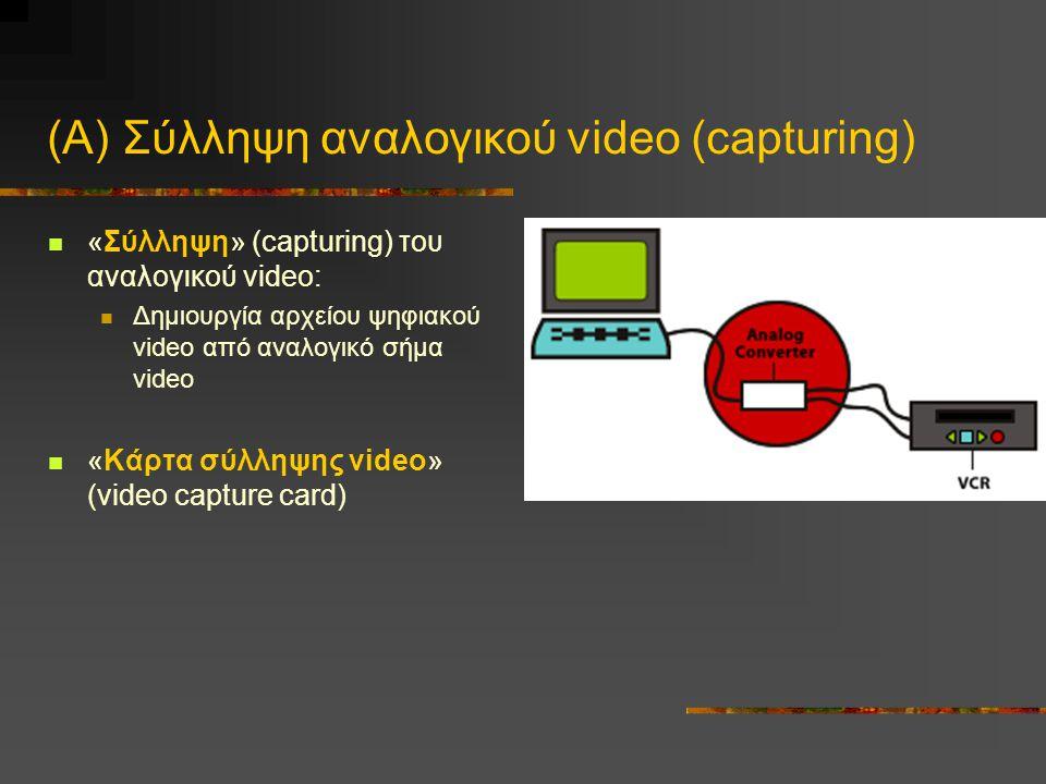 (Α) Σύλληψη αναλογικού video (capturing)