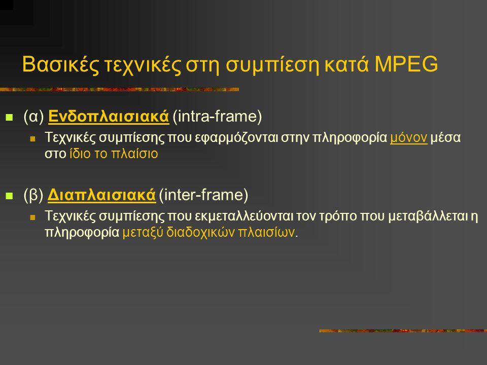 Βασικές τεχνικές στη συμπίεση κατά MPEG