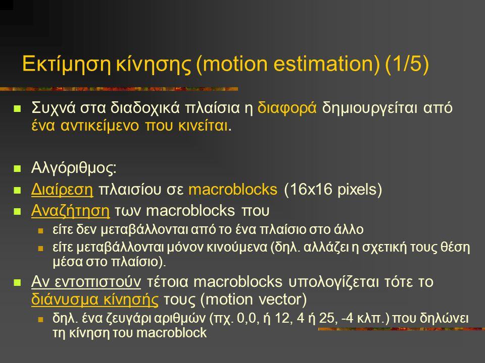 Εκτίμηση κίνησης (motion estimation) (1/5)