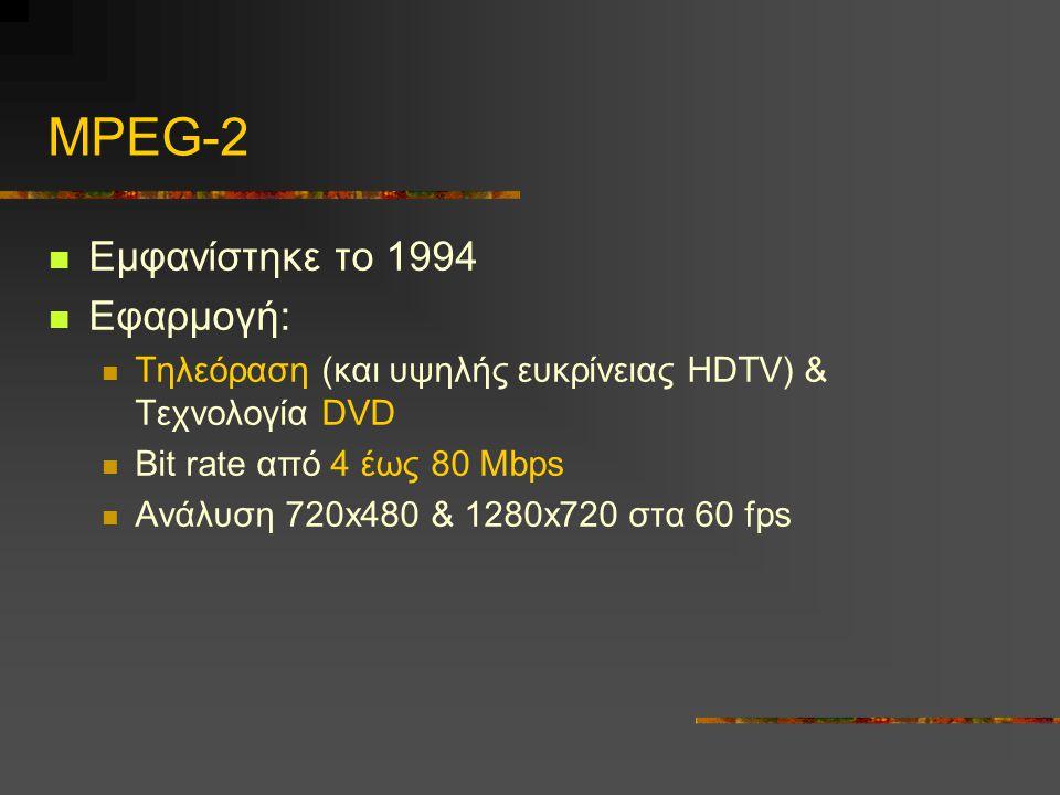 MPEG-2 Εμφανίστηκε το 1994 Εφαρμογή:
