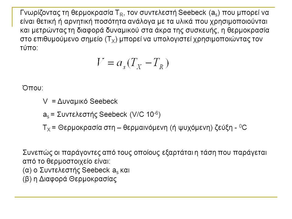 Γνωρίζοντας τη θερμοκρασία TR, τον συντελεστή Seebeck (as) που μπορεί να είναι θετική ή αρνητική ποσότητα ανάλογα με τα υλικά που χρησιμοποιούνται και μετρώντας τη διαφορά δυναμικού στα άκρα της συσκευής, η θερμοκρασία στο επιθυμούμενο σημείο (ΤX) μπορεί να υπολογιστεί χρησιμοποιώντας τον τύπο: