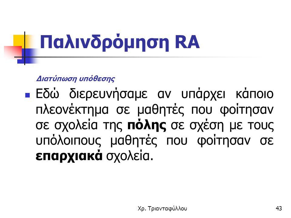 Παλινδρόμηση RA Διατύπωση υπόθεσης.