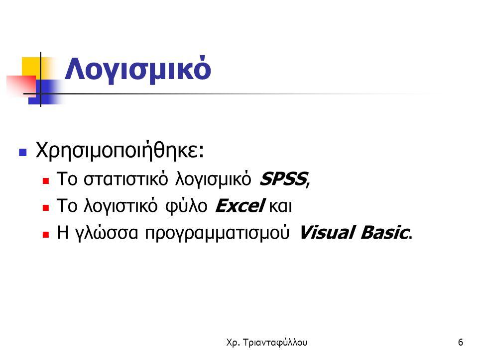 Λογισμικό Χρησιμοποιήθηκε: Το στατιστικό λογισμικό SPSS,