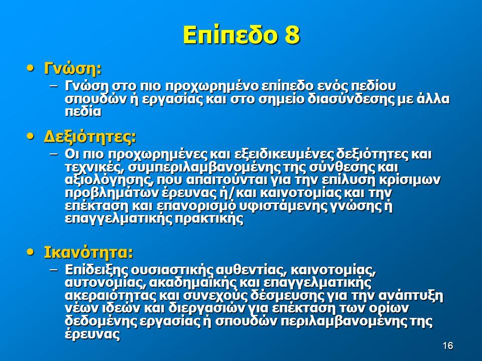 Επίπεδο 8 Γνώση: Δεξιότητες: Ικανότητα: