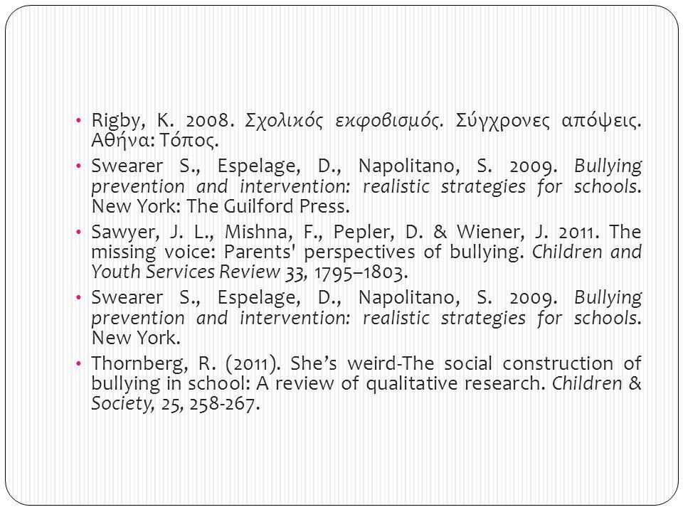 Rigby, K. 2008. Σχολικός εκφοβισμός. Σύγχρονες απόψεις. Αθήνα: Τόπος.