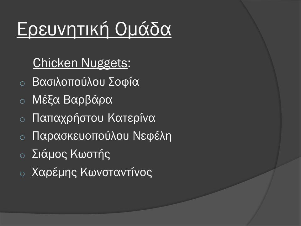 Ερευνητική Ομάδα Chicken Nuggets: Βασιλοπούλου Σοφία Μέξα Βαρβάρα