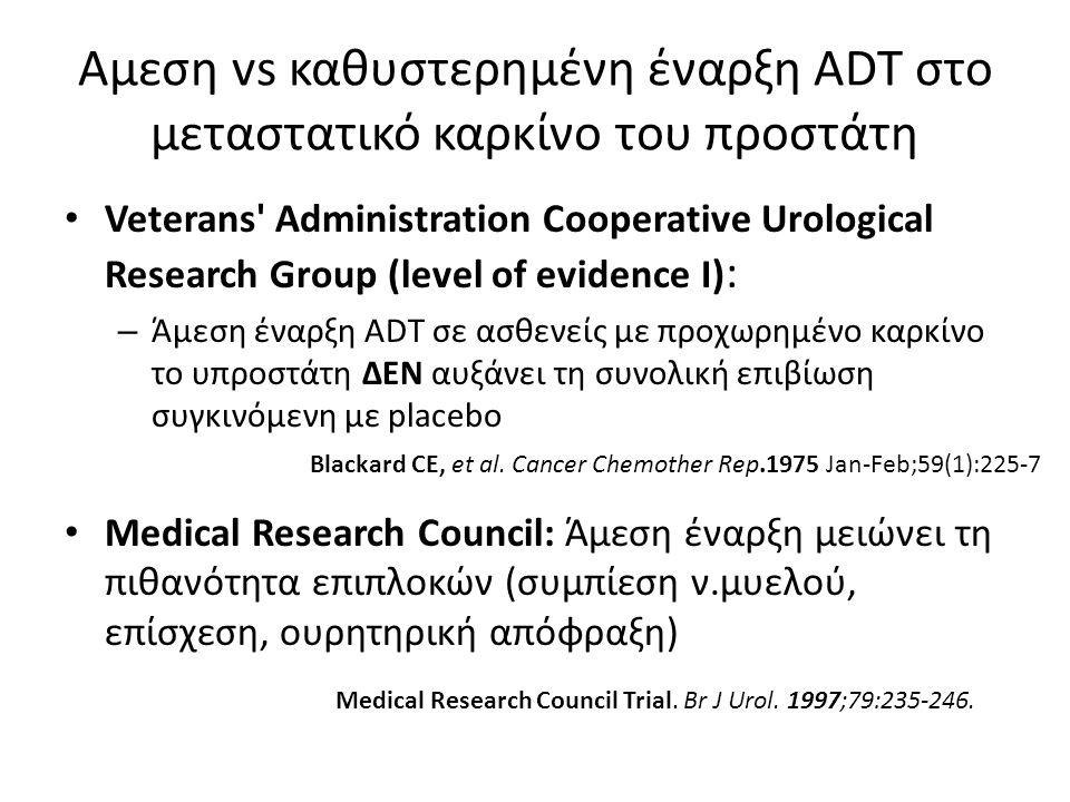 Αμεση vs καθυστερημένη έναρξη ADT στο μεταστατικό καρκίνο του προστάτη