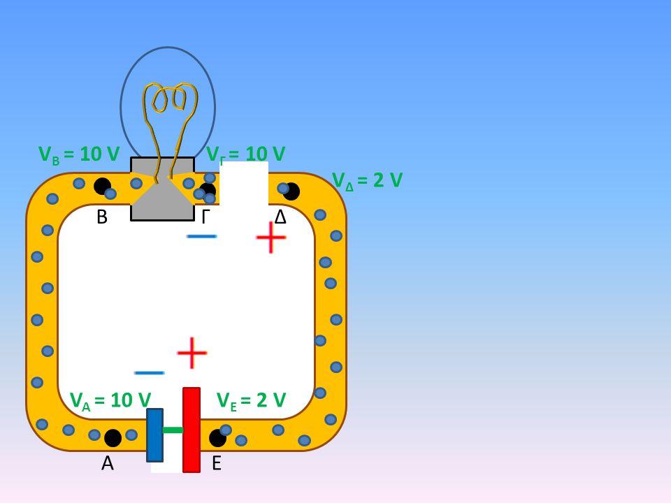 VΒ = 10 V VΓ = 10 V VΔ = 2 V B Γ Δ VA = 10 V VΕ = 2 V A Ε