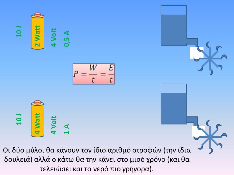 10 J 2 Watt. 4 Volt. 0,5 Α. 10 J. 4 Watt. 4 Volt. 1 Α.