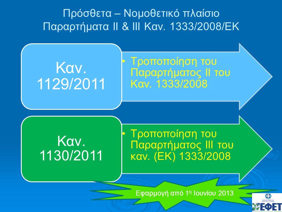 Πρόσθετα – Νομοθετικό πλαίσιο Παραρτήματα ΙΙ & ΙΙΙ Καν. 1333/2008/ΕΚ