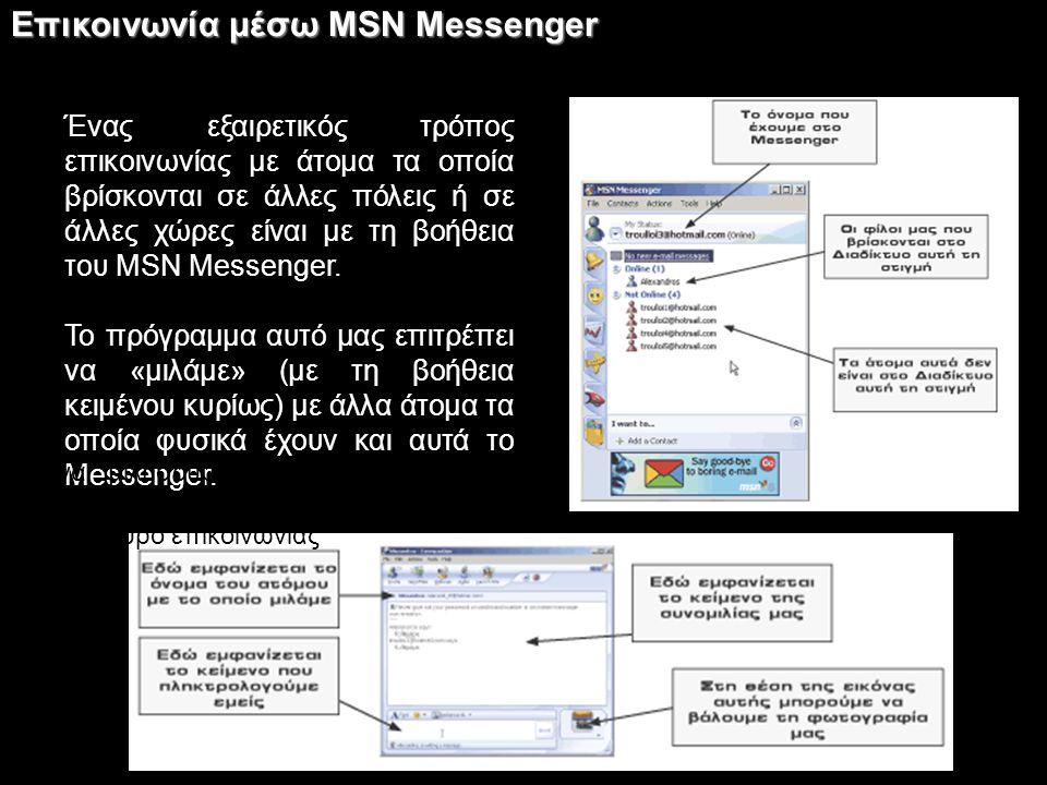 Επικοινωνία μέσω MSN Messenger