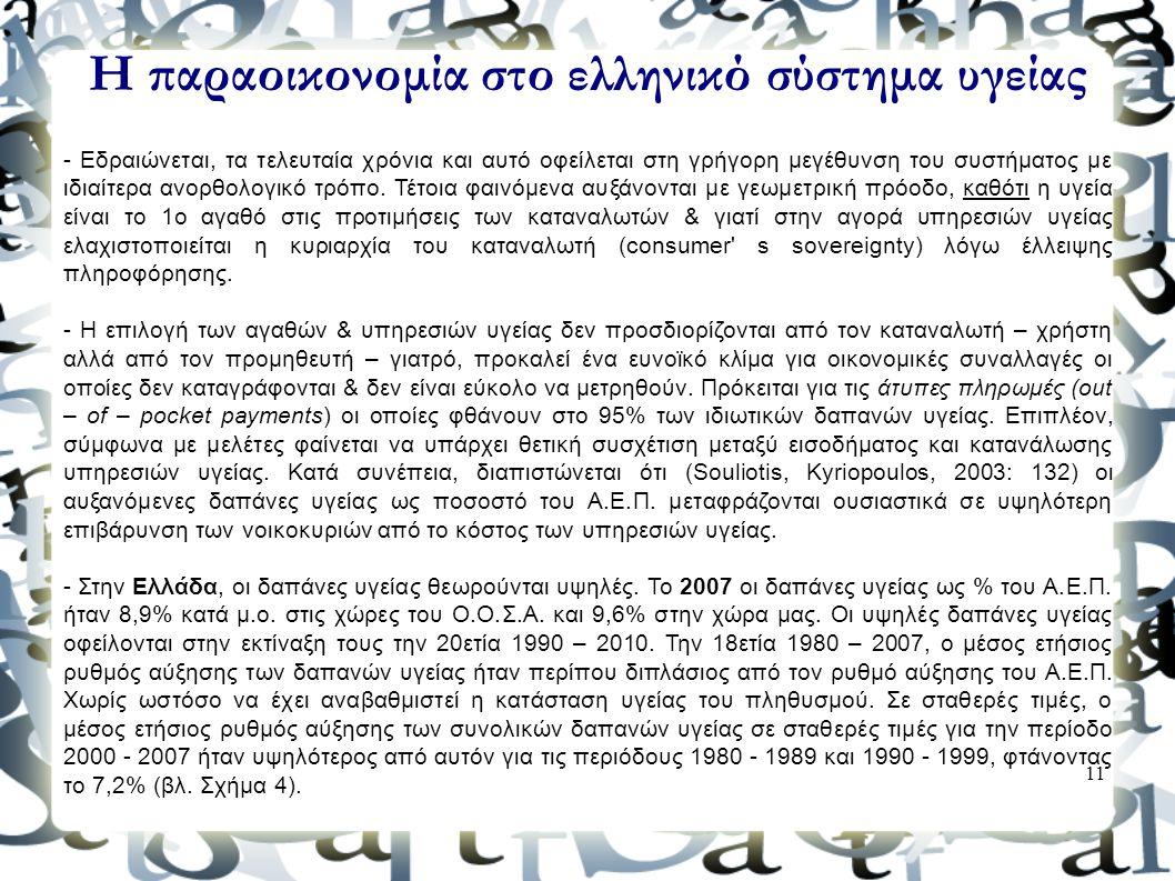 Η παραοικονομία στο ελληνικό σύστημα υγείας