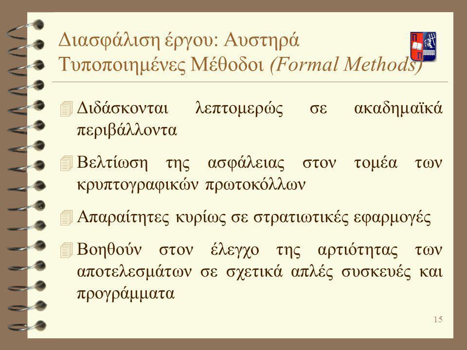 Διασφάλιση έργου: Αυστηρά Τυποποιημένες Μέθοδοι (Formal Methods)