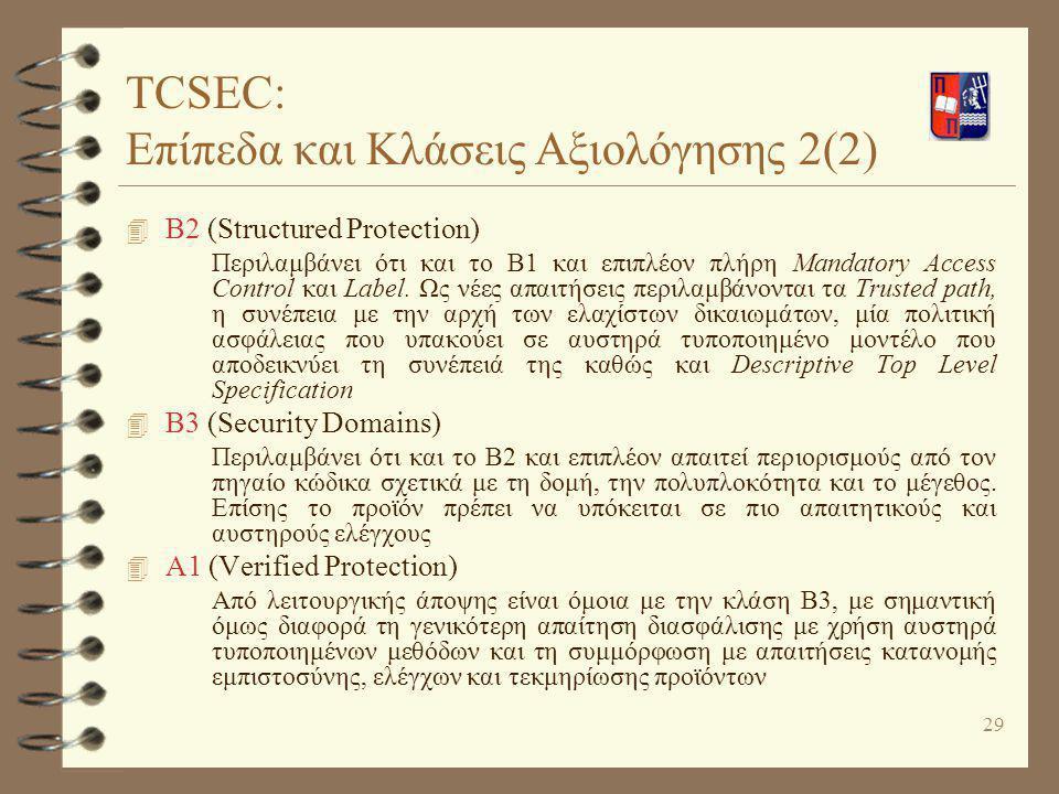 TCSEC: Επίπεδα και Κλάσεις Αξιολόγησης 2(2)