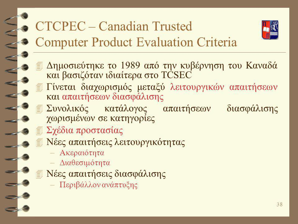 CTCPEC – Canadian Trusted Computer Product Evaluation Criteria
