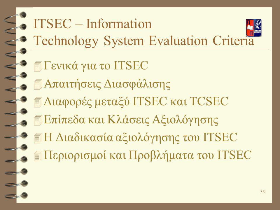 ITSEC – Information Technology System Evaluation Criteria