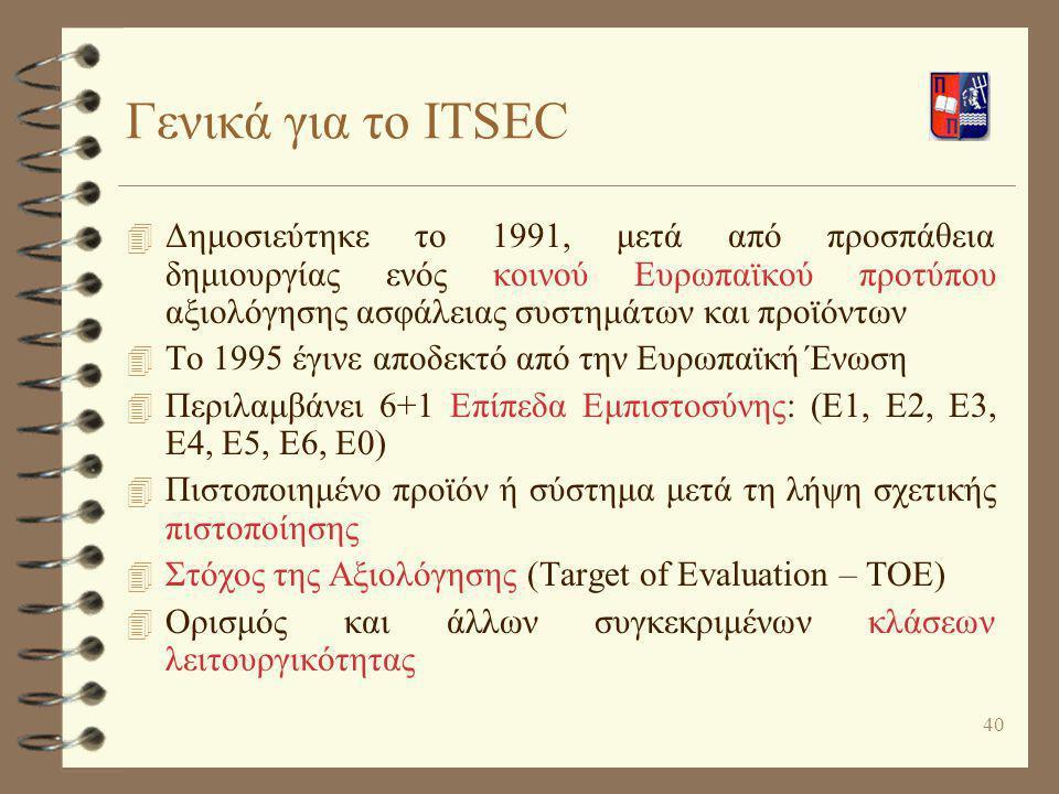 Γενικά για το ITSEC