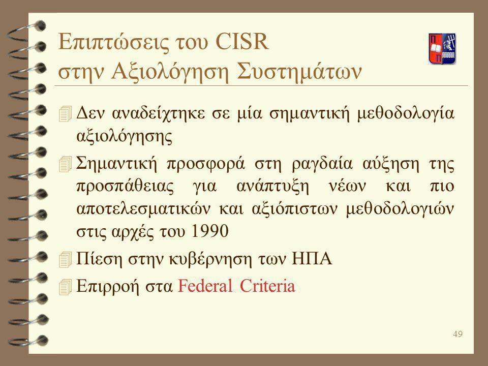 Επιπτώσεις του CISR στην Αξιολόγηση Συστημάτων