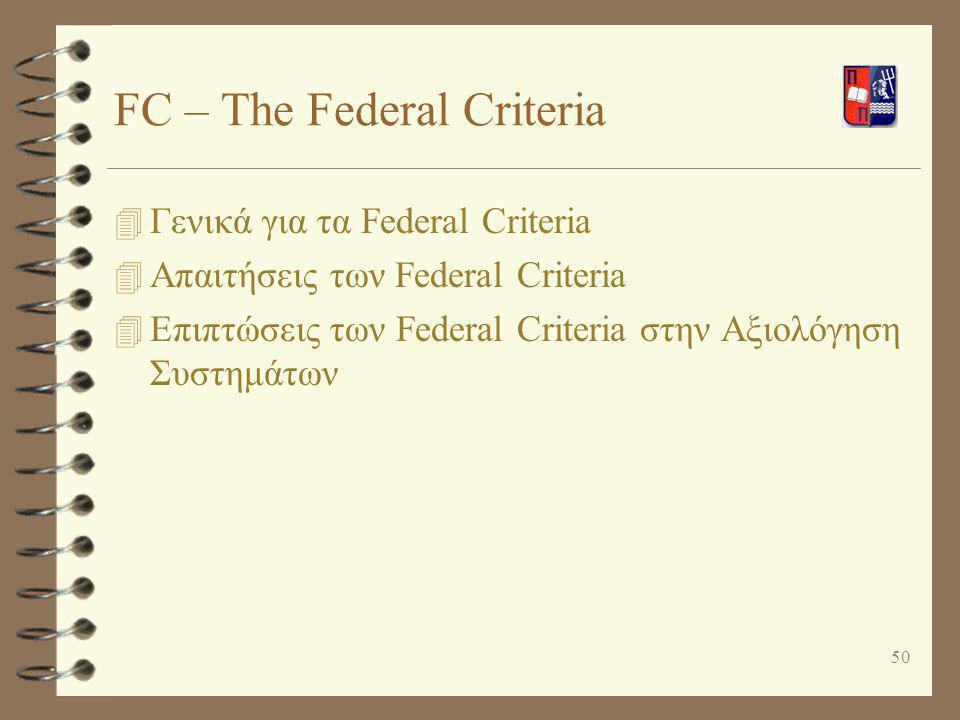 FC – The Federal Criteria