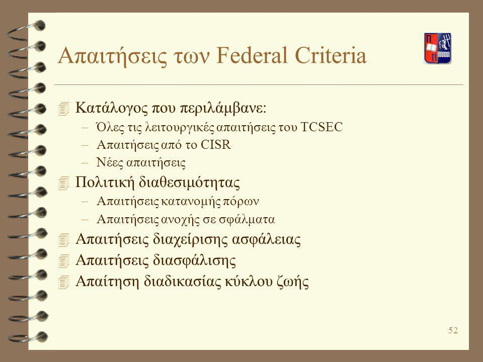Απαιτήσεις των Federal Criteria