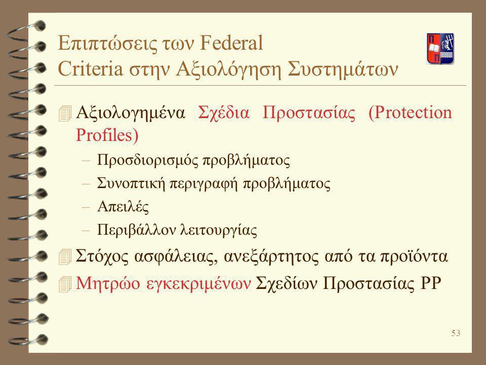 Επιπτώσεις των Federal Criteria στην Αξιολόγηση Συστημάτων