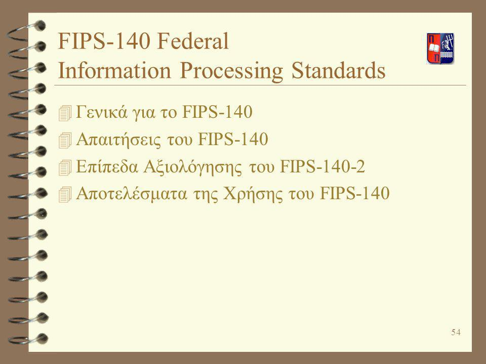 FIPS-140 Federal Information Processing Standards