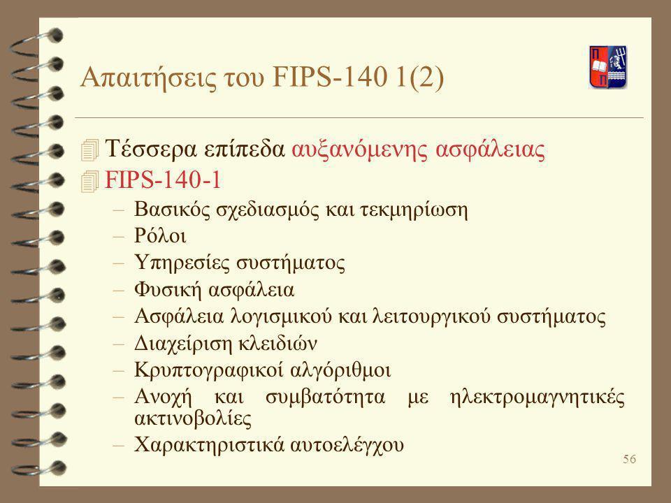 Απαιτήσεις του FIPS-140 1(2)
