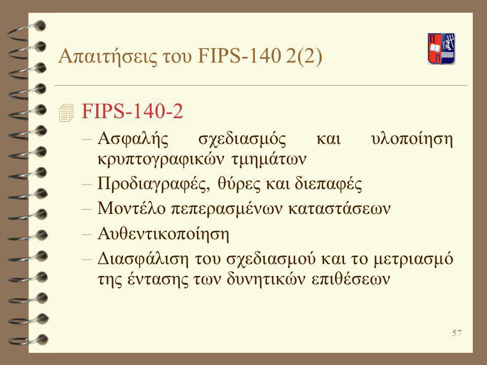 Απαιτήσεις του FIPS-140 2(2)