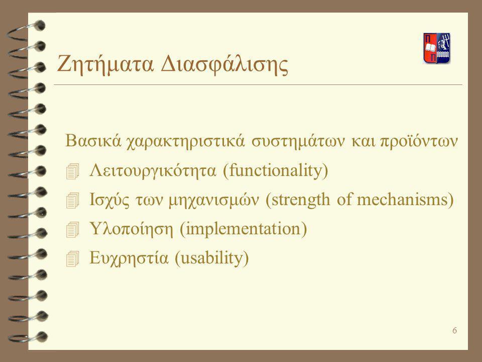 Ζητήματα Διασφάλισης Βασικά χαρακτηριστικά συστημάτων και προϊόντων
