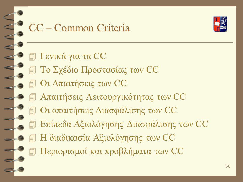 CC – Common Criteria Γενικά για τα CC Το Σχέδιο Προστασίας των CC