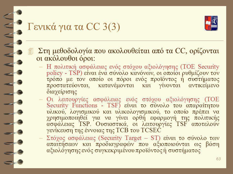 Γενικά για τα CC 3(3) Στη μεθοδολογία που ακολουθείται από τα CC, ορίζονται οι ακόλουθοι όροι: