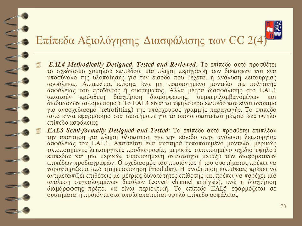 Επίπεδα Αξιολόγησης Διασφάλισης των CC 2(4)