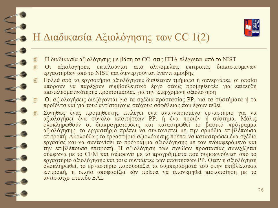 Η Διαδικασία Αξιολόγησης των CC 1(2)