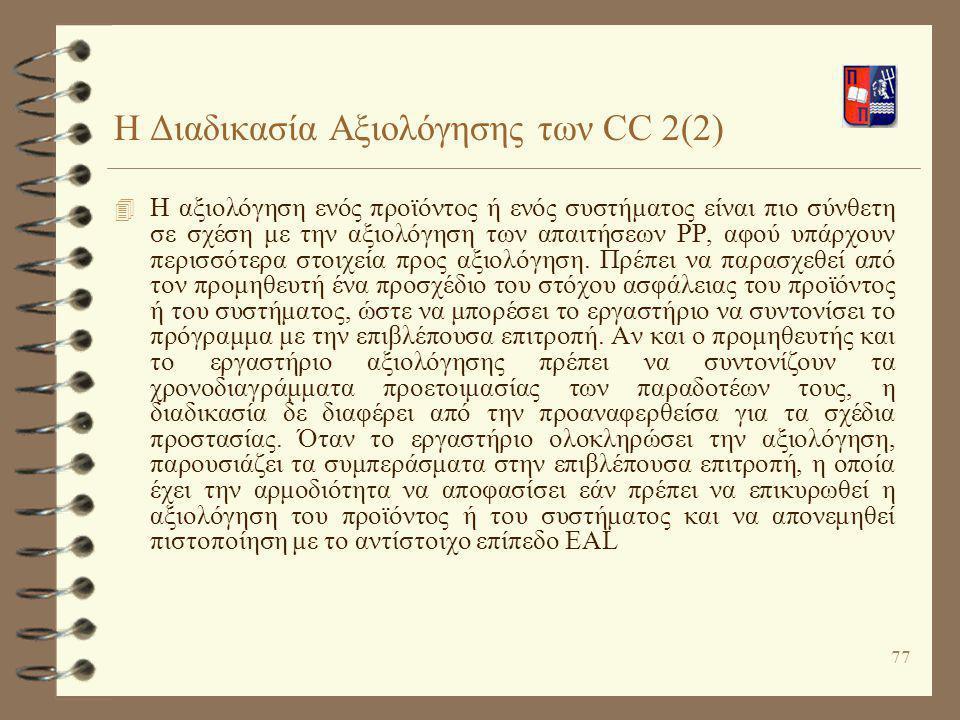 Η Διαδικασία Αξιολόγησης των CC 2(2)