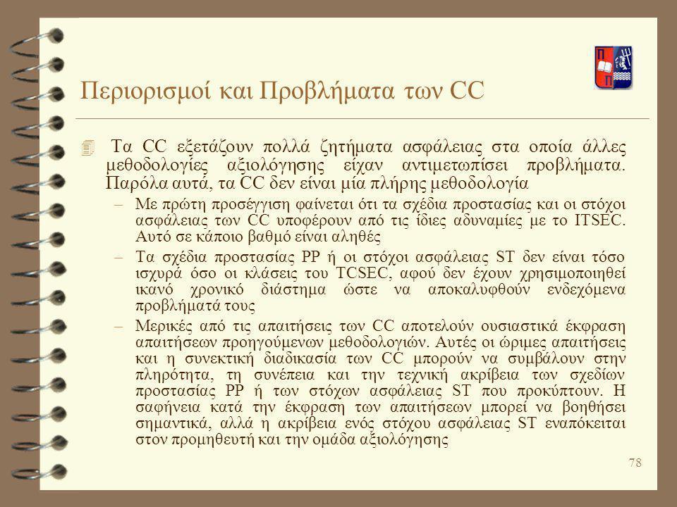 Περιορισμοί και Προβλήματα των CC