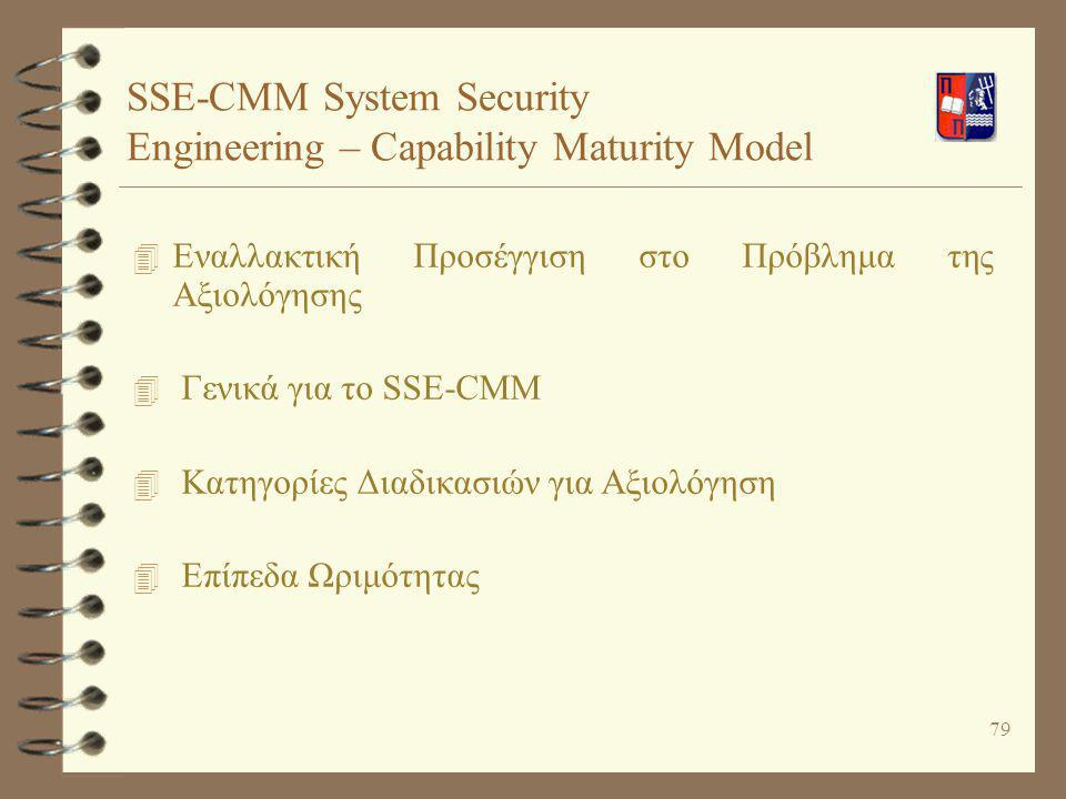 SSE-CMM System Security Engineering – Capability Maturity Model