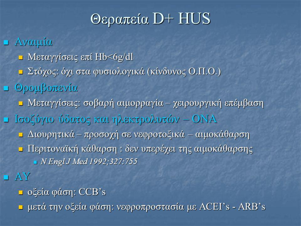 Θεραπεία D+ HUS Αναιμία Θρομβοπενία