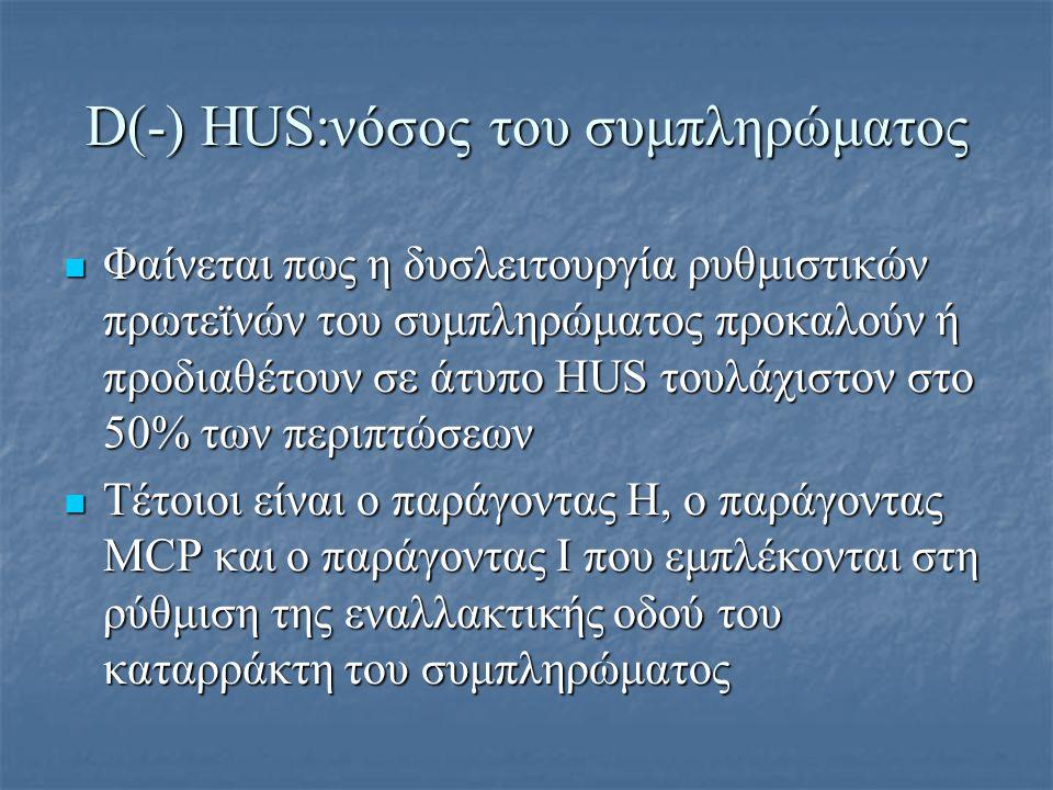 D(-) HUS:νόσος του συμπληρώματος