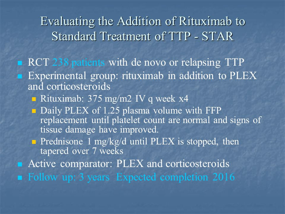 Evaluating the Addition of Rituximab to Standard Treatment of TTP - STAR