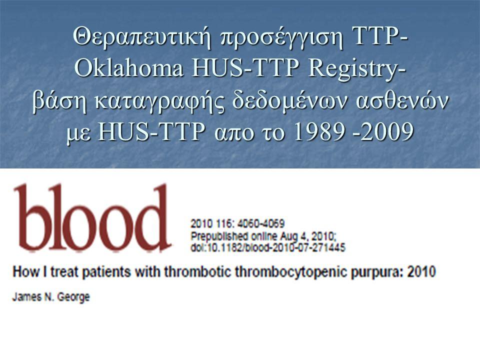 Θεραπευτική προσέγγιση ΤΤΡ-Oklahoma HUS-TTP Registry- βάση καταγραφής δεδομένων ασθενών με HUS-TTP απο το 1989 -2009