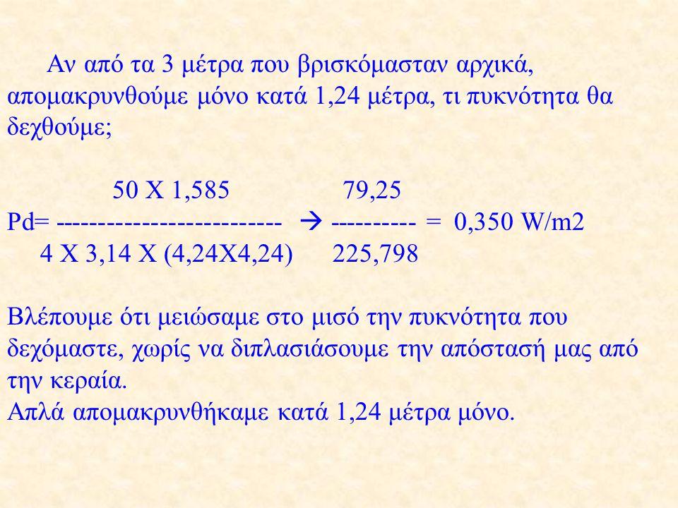 Αν από τα 3 μέτρα που βρισκόμασταν αρχικά, απομακρυνθούμε μόνο κατά 1,24 μέτρα, τι πυκνότητα θα δεχθούμε; 50 X 1,585 79,25 Pd= --------------------------  ---------- = 0,350 W/m2 4 X 3,14 X (4,24X4,24) 225,798 Βλέπουμε ότι μειώσαμε στο μισό την πυκνότητα που δεχόμαστε, χωρίς να διπλασιάσουμε την απόστασή μας από την κεραία.
