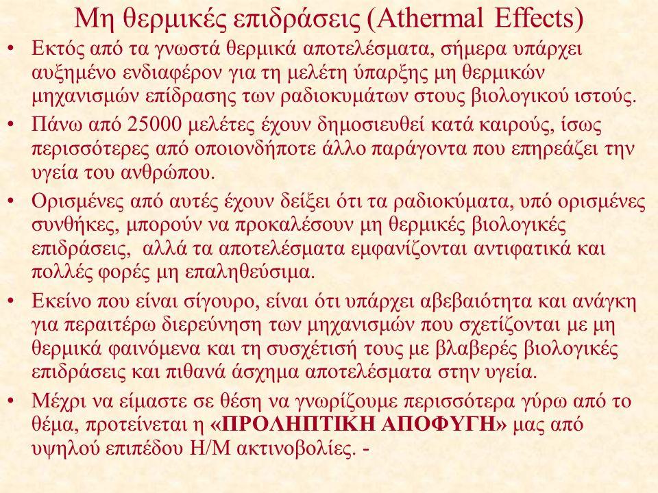Μη θερμικές επιδράσεις (Athermal Effects)