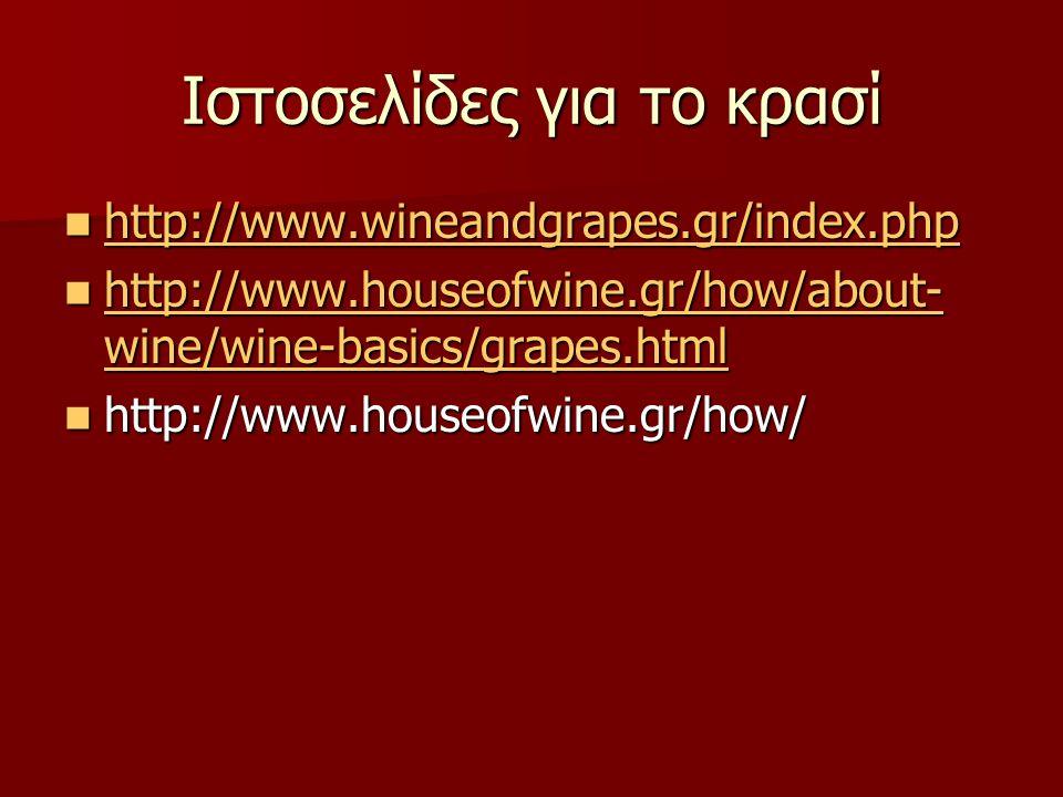 Ιστοσελίδες για το κρασί