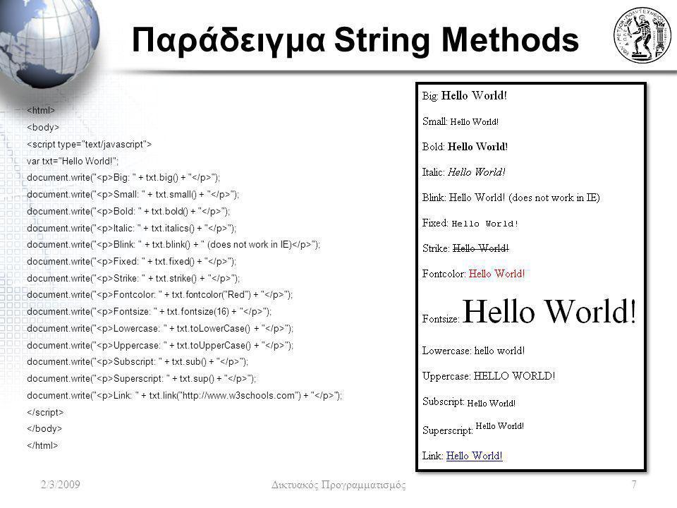 Παράδειγμα String Methods