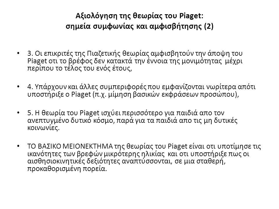 Αξιολόγηση της θεωρίας του Piaget: σημεία συμφωνίας και αμφισβήτησης (2)
