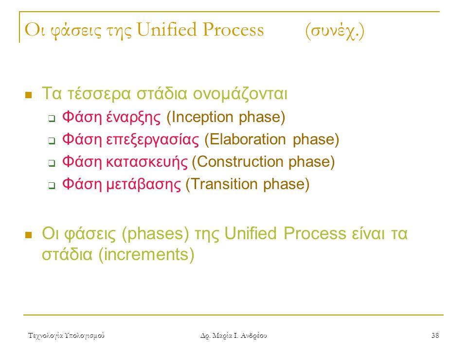 Οι φάσεις της Unified Process (συνέχ.)