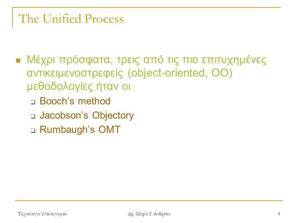 The Unified Process Μέχρι πρόσφατα, τρεις από τις πιο επιτυχημένες αντικειμενοστρεφείς (object-oriented, ΟΟ) μεθοδολογίες ήταν οι.