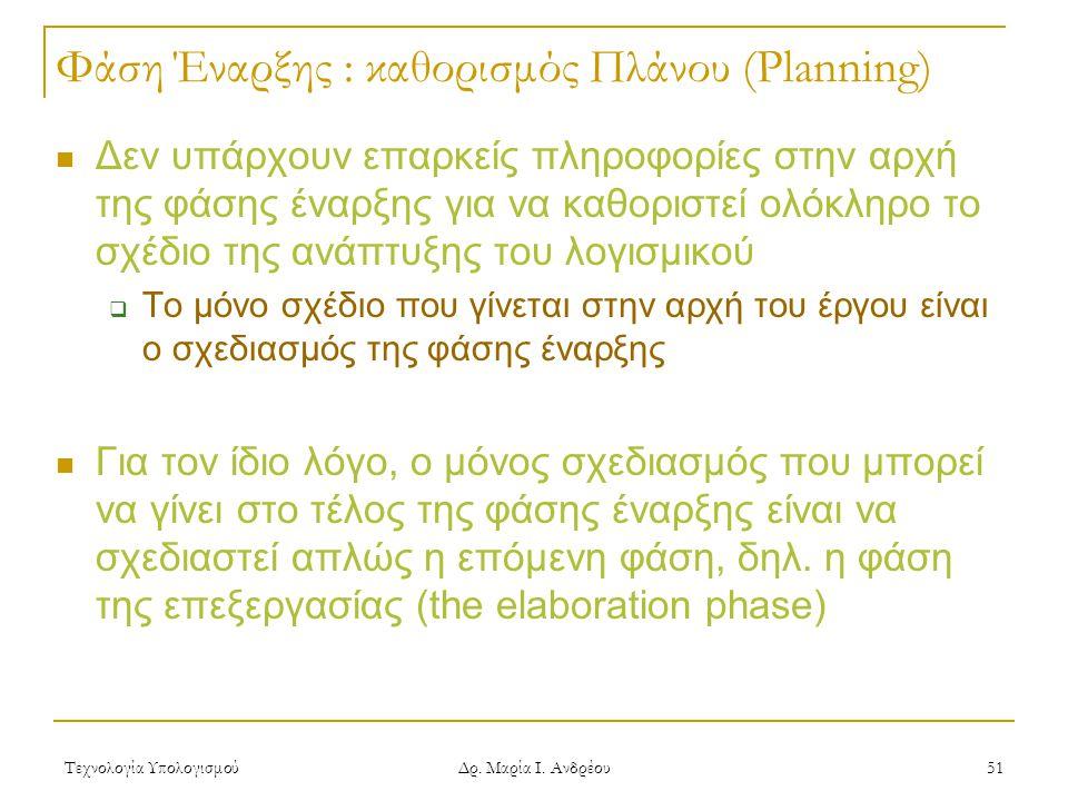 Φάση Έναρξης : καθορισμός Πλάνου (Planning)