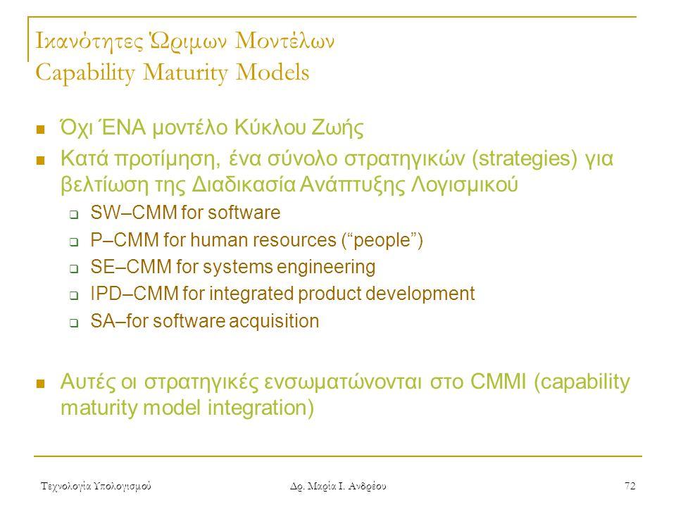 Ικανότητες Ώριμων Μοντέλων Capability Maturity Models