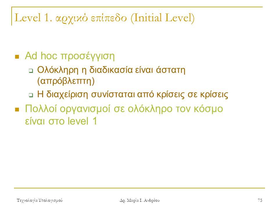 Level 1. αρχικό επίπεδο (Initial Level)